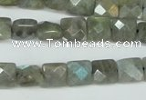 CLB199 15.5 inches 10*10mm faceted square labradorite beads