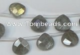 CLB205 Top-drilled 12*12mm briolette labradorite gemstone beads