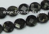 CLB305 15.5 inches 12mm faceted flat round black labradorite beads