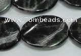 CLB318 15.5 inches 22*30mm twisted oval black labradorite beads