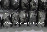 CLB324 15.5 inches 12*20mm faceted rondelle black labradorite beads