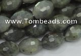CLB36 15.5 inches 12*16mm faceted rice labradorite gemstone beads