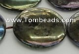 CLB645 15.5 inches 45mm flat round AB-color labradorite beads