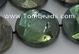 CLB682 15.5 inches 25mm faceted coin AB-color labradorite beads