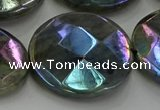 CLB683 15.5 inches 30mm faceted coin AB-color labradorite beads