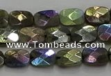 CLB695 15.5 inches 8*10mm faceted rectangle AB-color labradorite beads