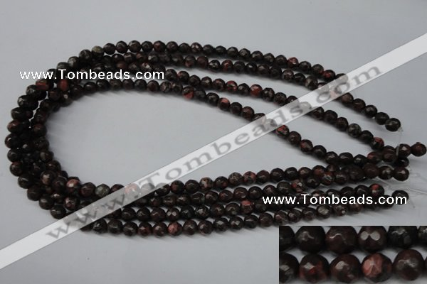 CLD101 15.5 inches 6mm faceted round leopard skin jasper beads