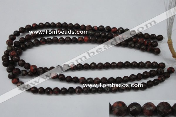 CLD102 15.5 inches 8mm faceted round leopard skin jasper beads
