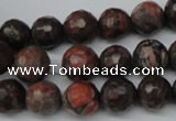 CLD103 15.5 inches 10mm faceted round leopard skin jasper beads