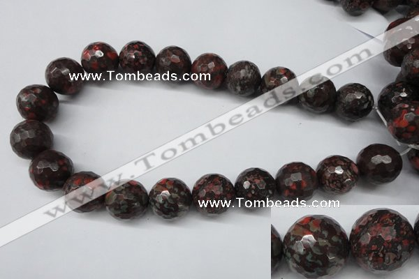 CLD108 15.5 inches 20mm faceted round leopard skin jasper beads