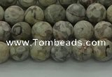 CLD202 15.5 inches 8mm round matte Chinese leopard skin jasper beads