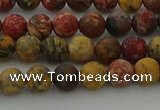 CLD211 15.5 inches 6mm round matte leopard skin jasper beads