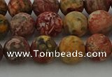 CLD213 15.5 inches 10mm round matte leopard skin jasper beads