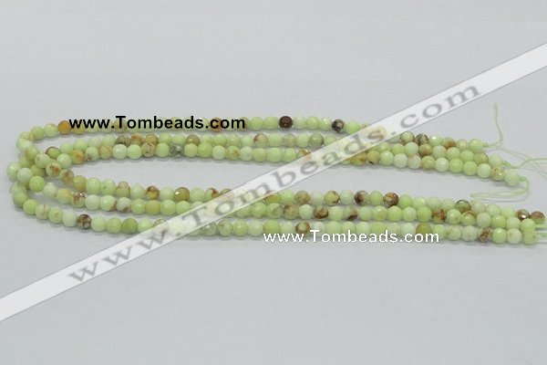 CLE33 15.5 inches 6mm faceted round lemon turquoise beads wholesale
