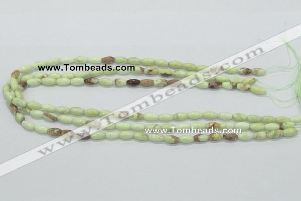 CLE35 15.5 inches 5*10mm rice lemon turquoise beads wholesale