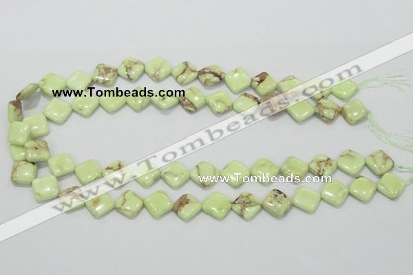 CLE37 15.5 inches 12*12mm diamond lemon turquoise beads wholesale