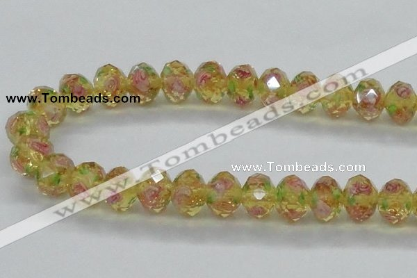 CLG14 13.5 inches 9*12mm faceted rondelle handmade lampwork beads