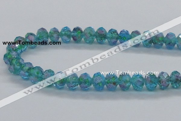 CLG23 13.5 inches 9*12mm faceted rondelle handmade lampwork beads