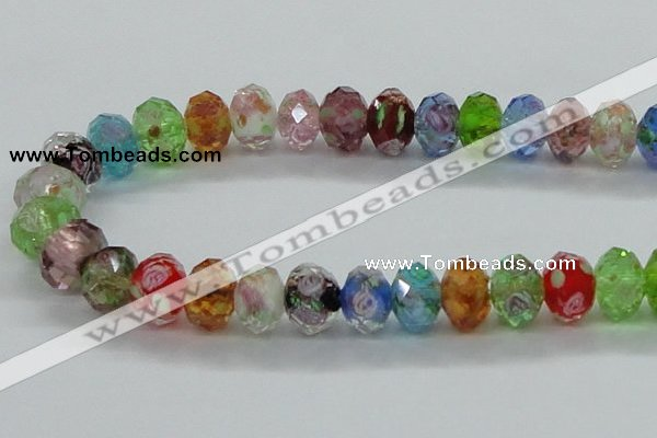 CLG24 13.5 inches 9*12mm faceted rondelle handmade lampwork beads