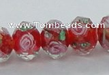 CLG25 15 inches 8*10mm faceted rondelle handmade lampwork beads