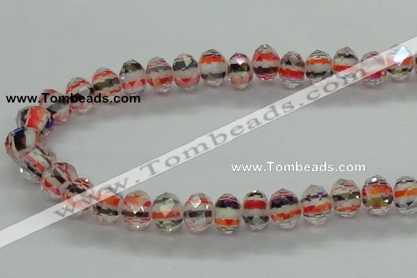 CLG37 14 inches 8*10mm faceted rondelle handmade lampwork beads