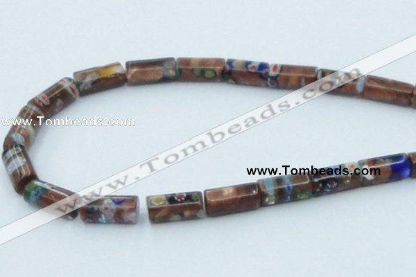 CLG551 16 inches 8*16mm faceted cylinder goldstone & lampwork beads