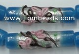 CLG786 15.5 inches 10*40mm cylinder lampwork glass beads wholesale