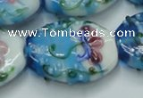 CLG799 15.5 inches 22*28mm oval lampwork glass beads wholesale