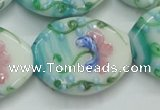 CLG800 15.5 inches 22*28mm oval lampwork glass beads wholesale