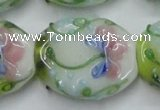 CLG803 15.5 inches 22*28mm oval lampwork glass beads wholesale
