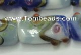 CLG806 15 inches 14*24mm rectangle lampwork glass beads wholesale