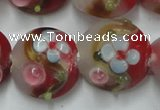 CLG812 15.5 inches 18mm flat round lampwork glass beads wholesale