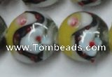 CLG816 15.5 inches 20mm flat round lampwork glass beads wholesale