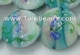 CLG819 15.5 inches 20mm flat round lampwork glass beads wholesale