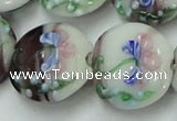 CLG820 15.5 inches 20mm flat round lampwork glass beads wholesale