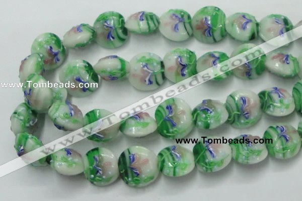 CLG821 15.5 inches 20mm flat round lampwork glass beads wholesale
