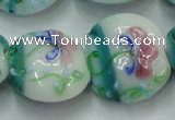 CLG824 15.5 inches 20mm flat round lampwork glass beads wholesale