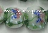 CLG825 15.5 inches 20mm flat round lampwork glass beads wholesale