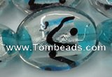 CLG859 15.5 inches 24*30mm oval lampwork glass beads wholesale