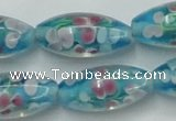 CLG866 15.5 inches 10*20mm rice lampwork glass beads wholesale