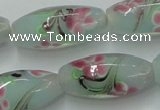 CLG870 15.5 inches 10*20mm rice lampwork glass beads wholesale
