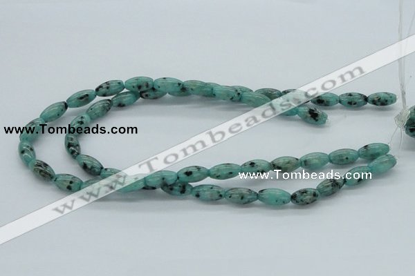 CLJ10 15.5 inches 8*16mm rice sesame jasper beads wholesale