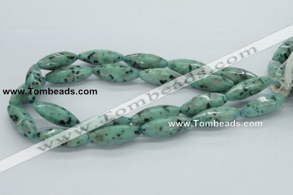 CLJ14 15.5 inches 13*37mm faceted rice sesame jasper beads wholesale