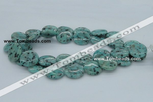 CLJ18 15.5 inches 30mm flat round sesame jasper beads wholesale