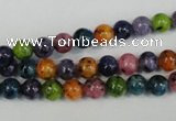 CLJ215 15.5 inches 6mm round mixed color dyed sesame jasper beads