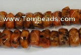 CLJ246 15.5 inches 6*11mm faceted nuggets dyed sesame jasper beads