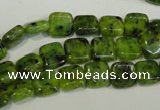 CLJ251 15.5 inches 8*8mm square dyed sesame jasper beads wholesale