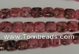 CLJ253 15.5 inches 8*8mm square dyed sesame jasper beads wholesale