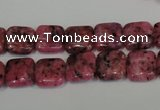CLJ262 15.5 inches 10*10mm square dyed sesame jasper beads wholesale