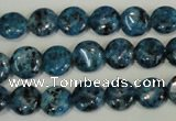 CLJ310 15.5 inches 10mm flat round dyed sesame jasper beads wholesale